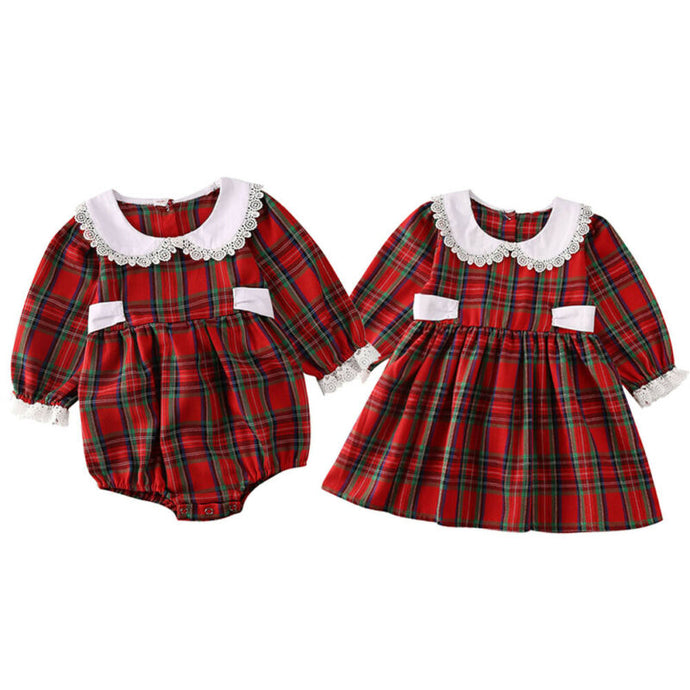 Xmas Toddler Baby Girl Dress Rompers Christmas Romper Dress Plaid Print Long Sleeve Lace Clothes Outfit