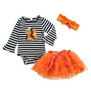 Baby Christmas Clothes Toddler Baby Girls Halloween Pumpkin Romper Dress Hairband Shoes Stocking Set Xmas Ropa Bebe Navidad