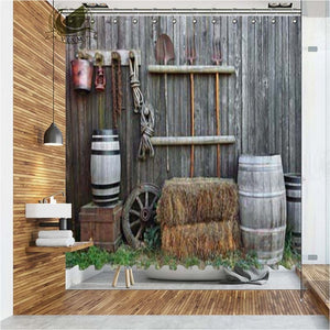 Vixm Western Town  Shower Curtains  Folk Vintage Scenery Waterproof Polyester Fabric Bathroom Curtains For Home Decor