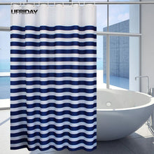 Load image into Gallery viewer, UFRIDAY Plastic Shower Curtain Nautical Stripes Waterproof Bathroom Curtain Navy Blue Stripes Ocean Waves Bath Curtain with Hook