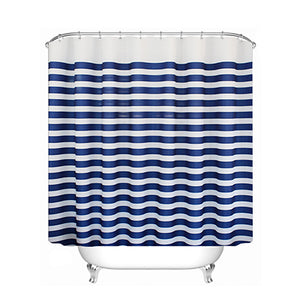 UFRIDAY Plastic Shower Curtain Nautical Stripes Waterproof Bathroom Curtain Navy Blue Stripes Ocean Waves Bath Curtain with Hook