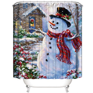 Christmas tree snow Printed Pattern 180x180cm Shower Curtain Pedestal Rug Lid Toilet Cover Mat Non-slip Bath Mat Set Bathroom