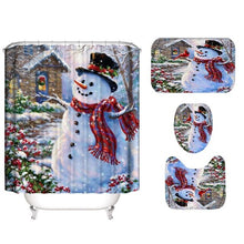 Load image into Gallery viewer, Christmas tree snow Printed Pattern 180x180cm Shower Curtain Pedestal Rug Lid Toilet Cover Mat Non-slip Bath Mat Set Bathroom