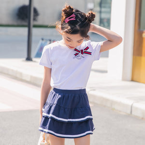 Summer Girls Set Pure Cotton College Style Girls Clothes Children Uniforms Back to School Fashion Top and Skirt 2pcs Suits New