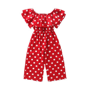 chiffon ruffle overalls age for 3 - 14 years teenage girls vintage red dots rompers  2020 summer back to school children clothes