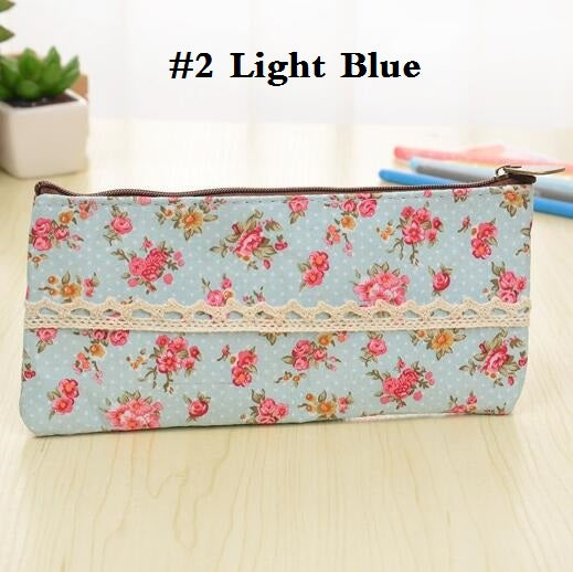1pcs/lot Flat Zipper Floral Lace Pencil Case School Supply Promotional School Supplies Stationery Five Selections