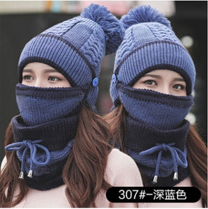 New Fashion Autumn Winter Women's Hat Caps Knitted Warm Scarf Windproof Multi Functional Hat Scarf Set clothing accessories suit