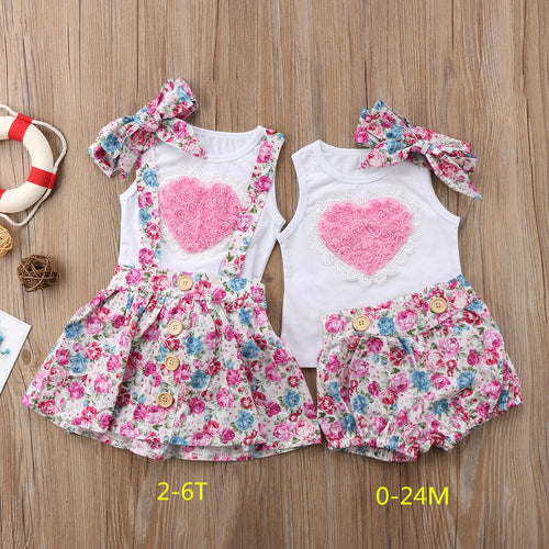 2020 New Summer Newborn Baby Girl Sister Matching Outfit Clothes Sleeveless Heart Tops T-shirt Pants Skirts Valentine Cuite Set