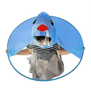 Cute Cartoon Duck Children Raincoat Umbrella UFO Shape Rain Hat Cape Foldable