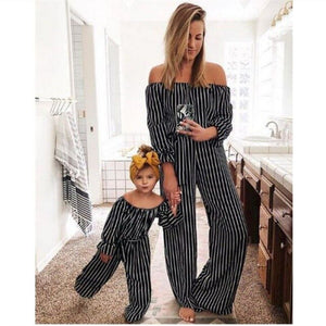 Mommy And Me Striped Jumpsuit 2019 Family Matching Clothes Baby Girls Off-Shoulder Jumpsuit Mom And Daughter Summer Clothes