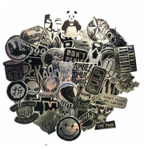 50 Pcs Metallic Black and White Stickers Wire-drawing Graffiti Sticker for Laptop Luggage Car Styling Guitar Waterproof Decals