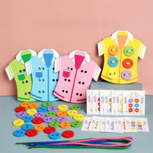 Load image into Gallery viewer, Children's Handmade Toys DIY Wear Sewing Button Game Montessori educational wooden toy Hand Eye Coordination Threading Board