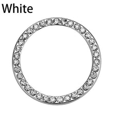 "Load image into Gallery viewer, 40mm/1.57"" Automobiles Start Switch Button Decorative Diamond Rhinestone Ring Auto Car Bling Keyring Decorative Accessory"
