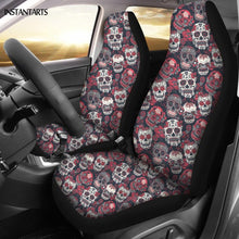 Load image into Gallery viewer, INSTANTARTS Skull Girly Skeleton Rose Floral Pattern Car Seat Covers Fit Most Car Full Year Use Interior Protector Cushion Cover