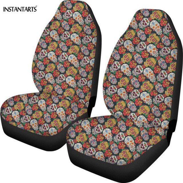 INSTANTARTS Skull Girly Skeleton Rose Floral Pattern Car Seat Covers Fit Most Car Full Year Use Interior Protector Cushion Cover