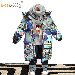 Jacket for Boys 2020 New Brand Hooded Winter Jackets Graffiti Camouflage Parkas For Teenagers Boys Thick Long Coat Kids Clothes