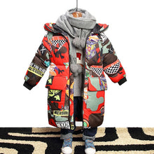 Load image into Gallery viewer, Jacket for Boys 2020 New Brand Hooded Winter Jackets Graffiti Camouflage Parkas For Teenagers Boys Thick Long Coat Kids Clothes