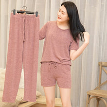 Load image into Gallery viewer, 3 Piece Pajama Set Women Top Short Capri Pants Sleepwear Suit Nightwear ultimate  Comfort Sports Homewear ouc287