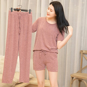 3 Piece Pajama Set Women Top Short Capri Pants Sleepwear Suit Nightwear ultimate  Comfort Sports Homewear ouc287