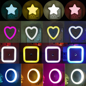 LED Night Light Mini Cute Wall Plug-in Auto Sensor Bedside Lamp For Bedroom Kid's Room Hallway Corridor Stairs EU/US 110V 220V