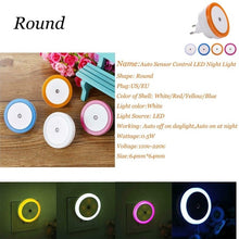 Load image into Gallery viewer, LED Night Light Mini Cute Wall Plug-in Auto Sensor Bedside Lamp For Bedroom Kid's Room Hallway Corridor Stairs EU/US 110V 220V