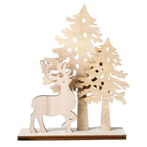 Wooden Christmas Tree Wlk Indoor Outdoor Xmas Holiday Winter Wonderland Party Kid Toys Creative Christmas Table DIY Decor