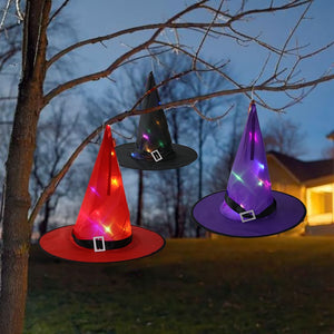 Halloween witch hat wizard LED lights hat outdoor garden led lantern Halloween decor skeleton masquerade cosplay clothing