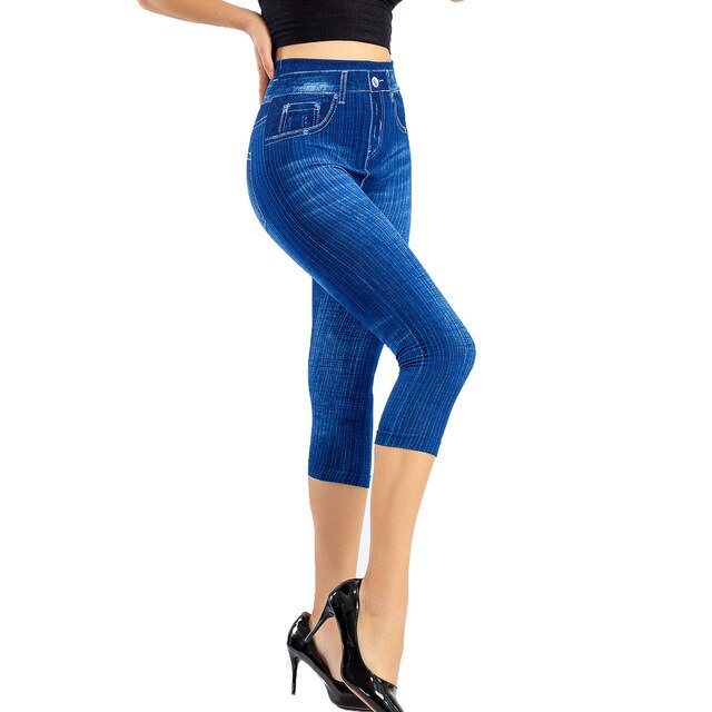 Plus Size Fashion Summer Women High Waist Skinny Jeans Knee Length Hole Ripped Denim Capri Slim Streetwear Stretch Casual Pants