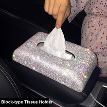 Load image into Gallery viewer, Creative Bling Crystal Diamond Car Ornaments Decoration Car Tissue Box Paper Holder Storage Rhinestone Car Interior Accessories