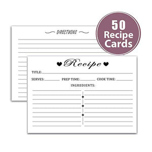 "Remarkable Recipe Cards 4"" x 6"" Double Sided - Black and White Modern Style Premium Card Stock for bridal shower or housewarming"