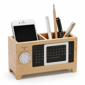 Pen Pencil Wooden Holder With Calendar Desk Organizers 2 Grids Table Jewelry Multifunctional Pen Holder Stationery Storage Box