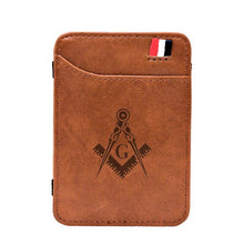 Load image into Gallery viewer, 2020 New Arrival High Quality Masonic Leather Magic Wallets Classic Small Men Money Clips Card Purse Thin Cash Holder