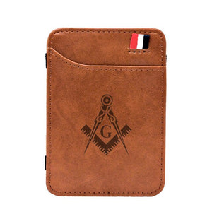 2020 New Arrival High Quality Masonic Leather Magic Wallets Classic Small Men Money Clips Card Purse Thin Cash Holder