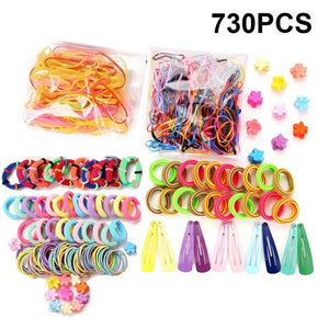 Girls Cute Elastic Hair Bands Hairpins Flower Hair Claws Hair Clip Rubber Band Ponytail Holder Kids Fashion Hair Accessorie