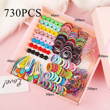 Load image into Gallery viewer, Girls Cute Elastic Hair Bands Hairpins Flower Hair Claws Hair Clip Rubber Band Ponytail Holder Kids Fashion Hair Accessorie