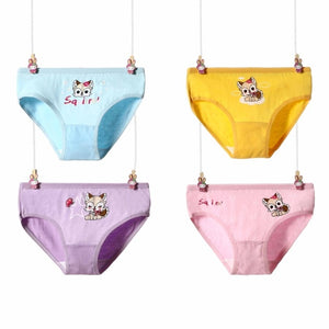 4 Pcs/Lot Cotton Soft Panties For Girls Lovely Baby Girls Underwear Cartoon Cat Briefs Breathable Children Panty Kids Underpants