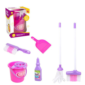 2020 New Drop Shop. Cleaning Play Set Kids Role Play 6 Piece  Broom Mop Bucket Dustpan