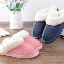 Load image into Gallery viewer, Women Fur Slippers Winter Warm Shoes Women Suede Plush House Slippers Indoor Outdoor Couples Cotton Memory Foam Zapatillas Mujer