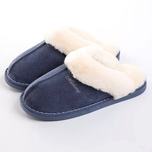 Women Fur Slippers Winter Warm Shoes Women Suede Plush House Slippers Indoor Outdoor Couples Cotton Memory Foam Zapatillas Mujer