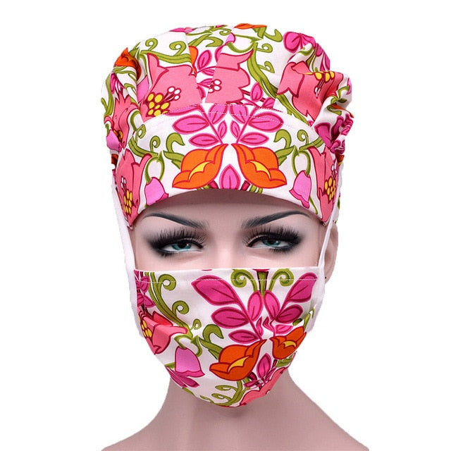 Scrub Caps Sets Cotton Adjustable Sweatband Bouffant Hats Women Flower Printed Reuseable Work Wear Washable Hats Accessories