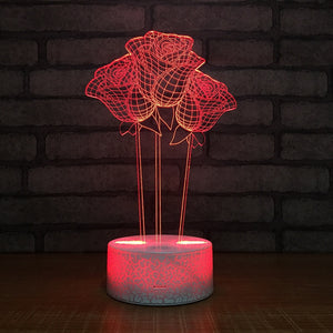 Rose LED RGB Night Light 7 Color Change Desk Light 144 Action Figure PVC Kids Toys Brinquedos Christmas Gift