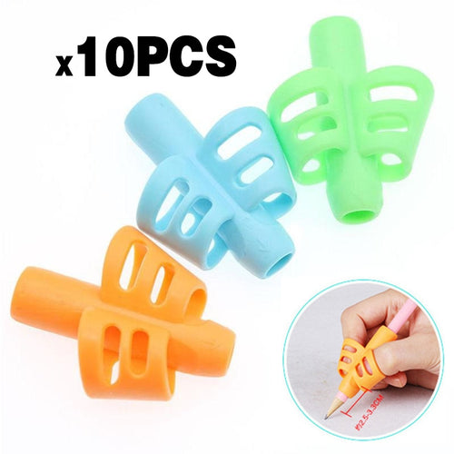 10pcs ldren Writing Pencil Pan Holder Kids Learning Practise Silicone Pen Aid Grip Posture Correction Device for Students