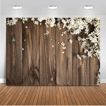 Load image into Gallery viewer, Mocsicka Rustic Floral Wood Photography Backdrop White Flowers Background Retro Wooden Background Wedding Bridal Shower Backdrop