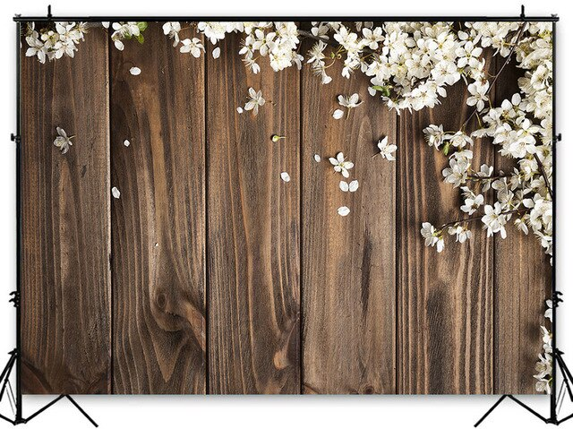 Mocsicka Rustic Floral Wood Photography Backdrop White Flowers Background Retro Wooden Background Wedding Bridal Shower Backdrop