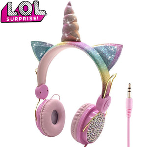 LOL dolls surprise Cute Unicorn Wired Headphone With Microphone Music Stereo Earphone Computer Mobile Phone Headset Kids Gift