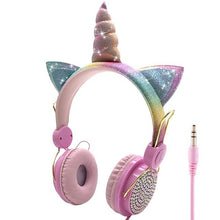 Load image into Gallery viewer, LOL dolls surprise Cute Unicorn Wired Headphone With Microphone Music Stereo Earphone Computer Mobile Phone Headset Kids Gift