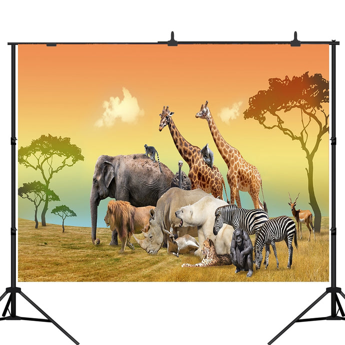 Lyavshi Tropical African Jungle Safari Scenic Backdrop Animals Giraffe Antelope Lion Photography Background Photobooth Props