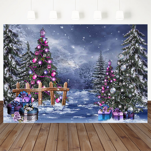 Christmas Photography Background Christmas Tree Fence Snow Bokeh Backdrop Decoration Props Banner For Photo Studio
