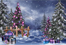 Load image into Gallery viewer, Christmas Photography Background Christmas Tree Fence Snow Bokeh Backdrop Decoration Props Banner For Photo Studio