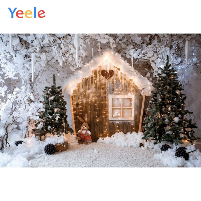 Christmas Backdrop Winter Snow Tree House Rabbit Baby Portrait Custom Vinyl Photography Background For Photo Studio Photophone